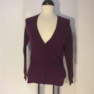Madewell Purple Merino Wool Cardigan XS